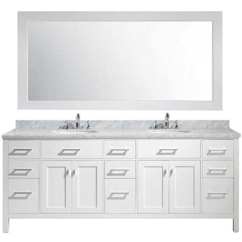 "Design Element London 84"" Double Vanity in White with Matching Mirror, DEC076-84-W - AGM Home Store LLC"