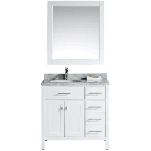 "Design Element London 36"" Single Vanity in White with Matching Mirror, DEC076D-W-R - AGM Home Store LLC"