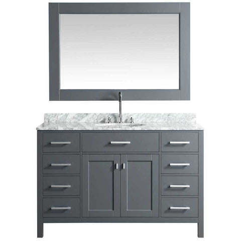 "Design Element London 54"" Single Vanity in Gray with Matching Mirror, DEC076H-G-WT - AGM Home Store LLC"