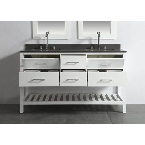 "Design Element London 61"" Double Vanity in White with Matching Mirror, DEC077C-W-GT - AGM Home Store LLC"