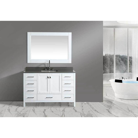 "Design Element London 54"" Single Vanity in White with Matching Mirror, DEC082D-W-GT - AGM Home Store LLC"