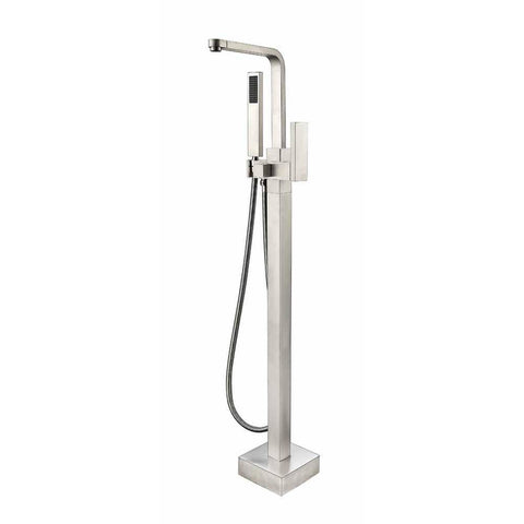 Vanity Art Single Handle Floor Mounted Tub Filler with Hand Shower VA2016BN - AGM Home Store LLC