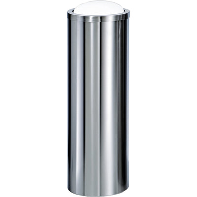 DWBA Round Tall Stainless Steel Wastebasket Trash Can W/ Swing Lid. Polished / Matte Finish - AGM Home Store LLC