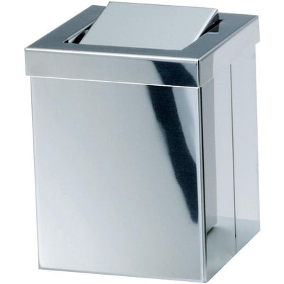 DWBA Square Extra Small Countertop Wastebasket Trash Can W/ Swing Lid. Steel Chrome - AGM Home Store LLC