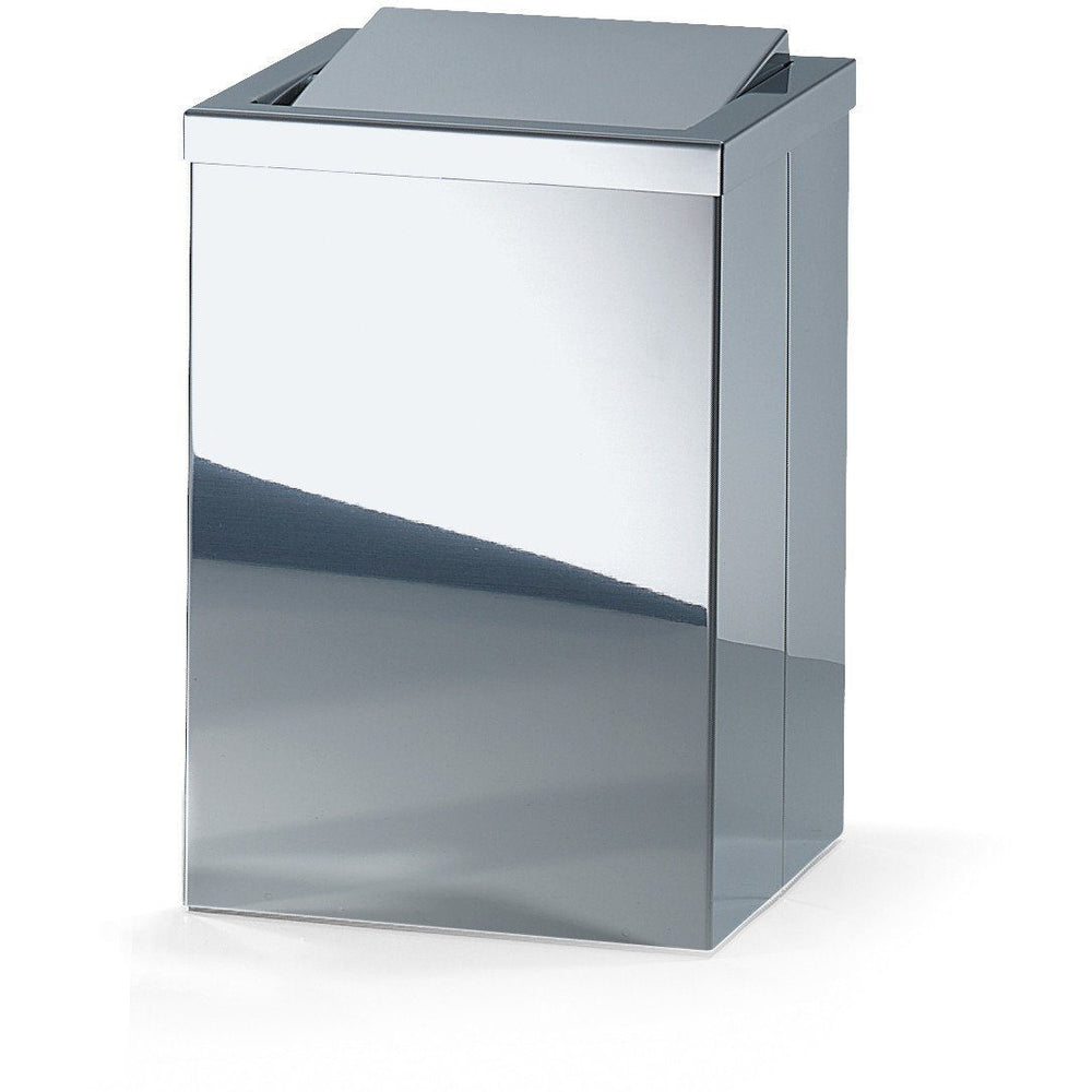 Stainless Steel Trash Can DWBA Square Wastebasket W/ Swing Lid. Chrome - AGM Home Store LLC