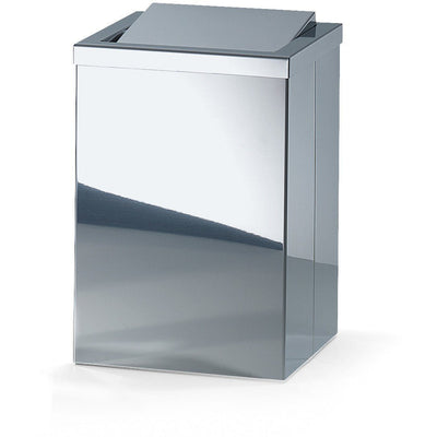 Stainless Steel Trash Can DWBA Square Wastebaske W/ Swing Lid. Chrome - AGM Home Store LLC