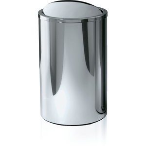 DWBA Stainless Hamper Round Laundry Basket with Swing Cover Lid, Polished Chrome - AGM Home Store LLC