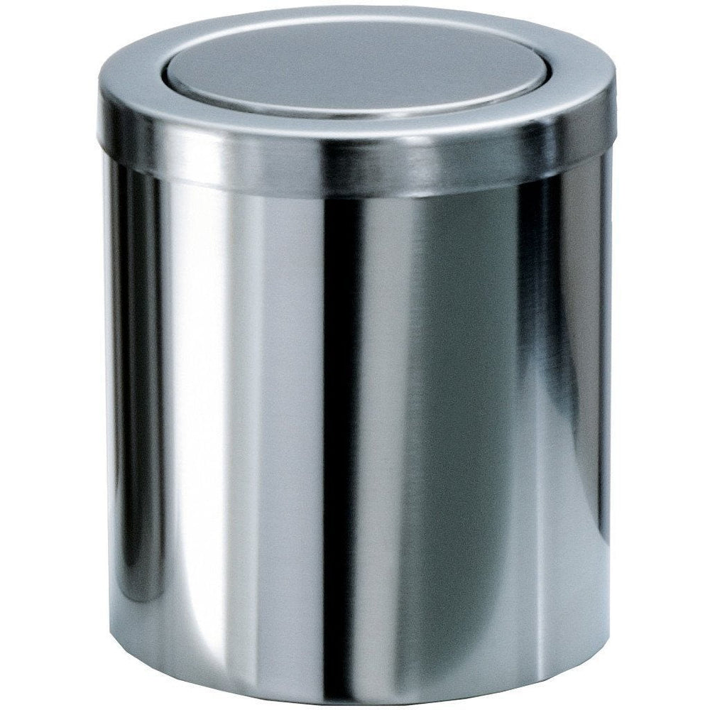 DWBA Round Extra Small Coutertop Wastebasket Trash Can W/ Swing Lid. Steel Chrome - AGM Home Store LLC