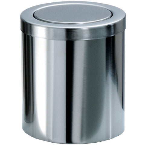 DW 1240 Small Round Trash Can Coutertop Wastebasket W/ Swing Lid. Steel Chrome - AGM Home Store LLC
