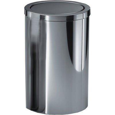 DWBA Round Stainless Steel Wastebasket Trash Can W/ Swing Lid. Chrome - AGM Home Store LLC