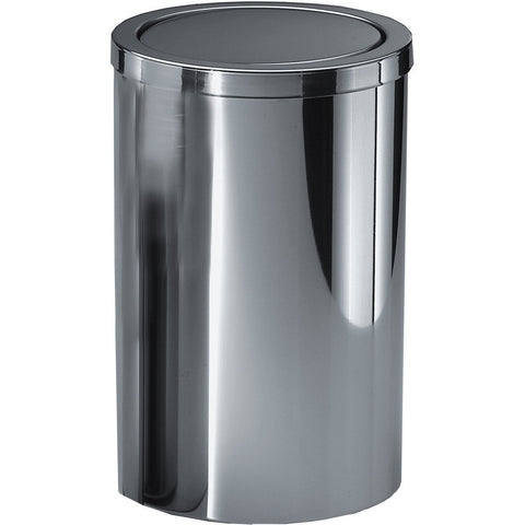 Round Stainless Steel Trash Can DWBA Wastebasket/ Swing Lid. Chrome - AGM Home Store LLC