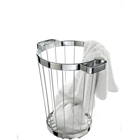 DW 222 Brass Hamper Laundry Towel Basket without Cover (Polished Chrome) - AGM Home Store LLC