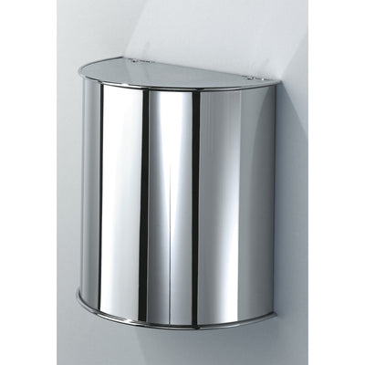 DWBA Round Wall Mounted Wastebasket Trash Can W/ Hinged Lid. Chrome - AGM Home Store LLC