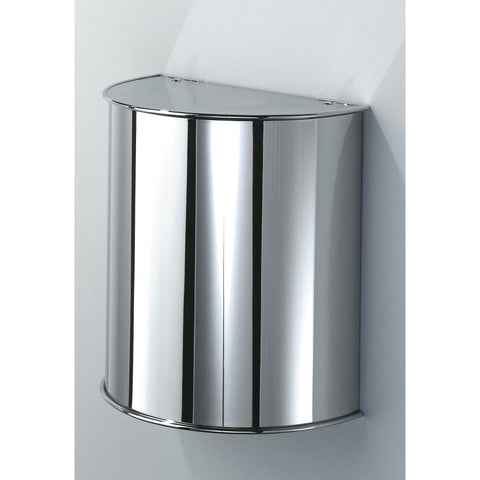 DW 31 Round Wall Mounted Wastebasket Trash Can W/ Hinged Lid. Chrome - AGM Home Store LLC