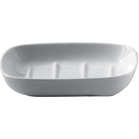 DW 503 Countertop Soap Dish / Soap Saver Holder Tray, Porcelain White - AGM Home Store LLC