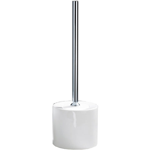 DWBA Free Standing Toilet Bowl Brush and Holder Set w/ cover. Porcelain-Chrome - AGM Home Store LLC