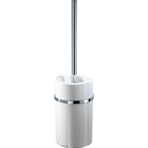 DW 6103 Chrome Brass Round Toilet Bowl Brush Holder Set Cleaner W/O Lid, Porcelain - AGM Home Store LLC