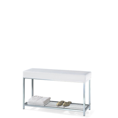 DW 67 Backless Vanity Stool Bench, Metal Legs, Leather Seat and Storage Shelf - AGM Home Store LLC