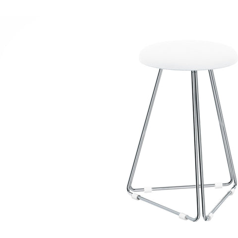 DWBA Backless Vanity Stool Bench for Bath, Closet, or Bedroom W/ Chrome Metal Legs