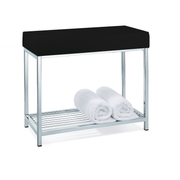 DWBA Backless Vanity Stool Bench, With Chrome Metal Legs and Storage Rack Shelf - AGM Home Store LLC
