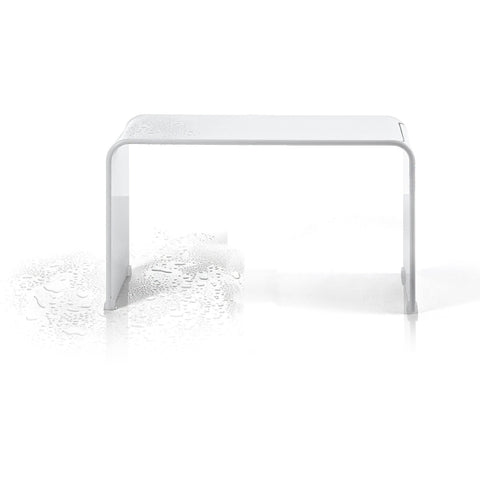 DWBA Backless Shower Bench Stool Chair for Bathroom Shower Seat, Shiny Acrylic