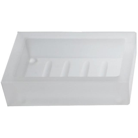 DW 970 Frosted Bathroom Soap Dish Holder Tray Soap Holder Soap Saver - Glass - AGM Home Store LLC