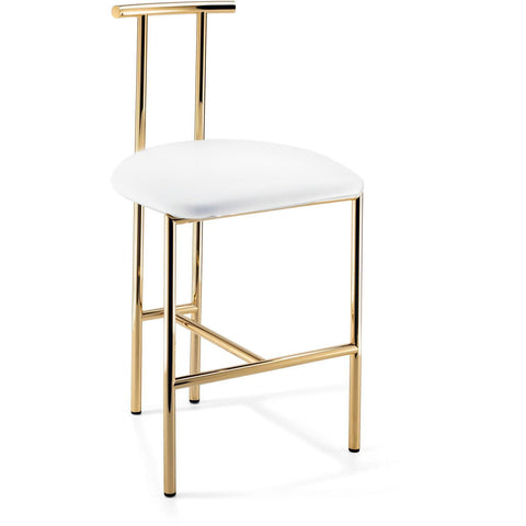 DWBA Vanity Bar Stool Bench, With Brass Metal Legs & Back 18.5-inch - AGM Home Store LLC
