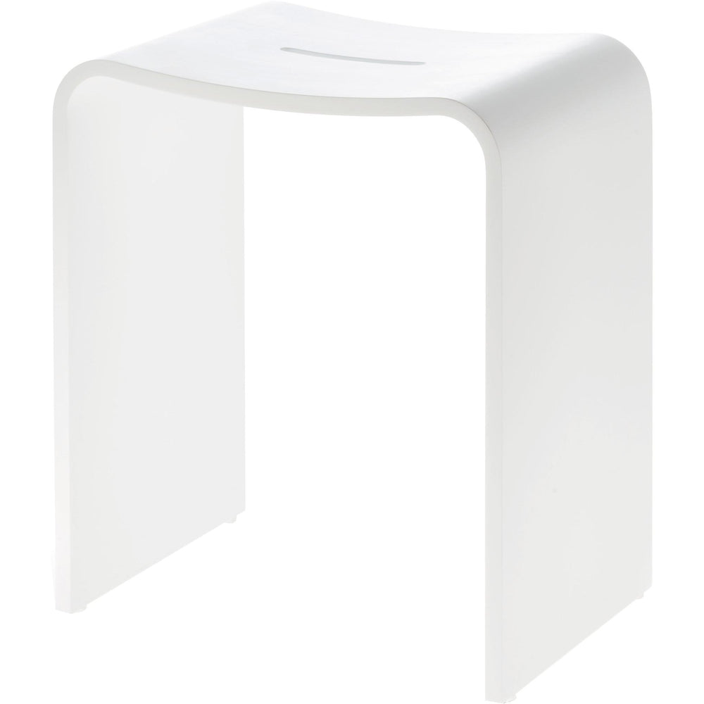 DWBA Backless Vanity Stool Bench for Bedroom, Bathroom, Shower Seat. Seat White Solid Surface - AGM Home Store LLC