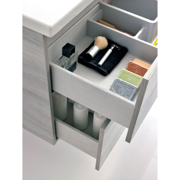 Onix Modern Wall Mounted Bathroom Vanity, 56 Inches, Grey, 2 Drawer with Cabinets - AGM Home Store LLC