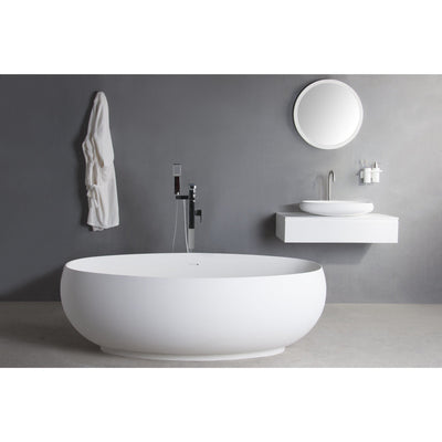 Ideavit Solidego Freestanding Bathtub in White Matte Solid Surface - AGM Home Store LLC