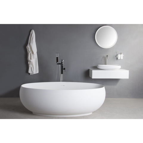 Ideavit Solidego Freestanding Bathtub in White Matte Solid Surface