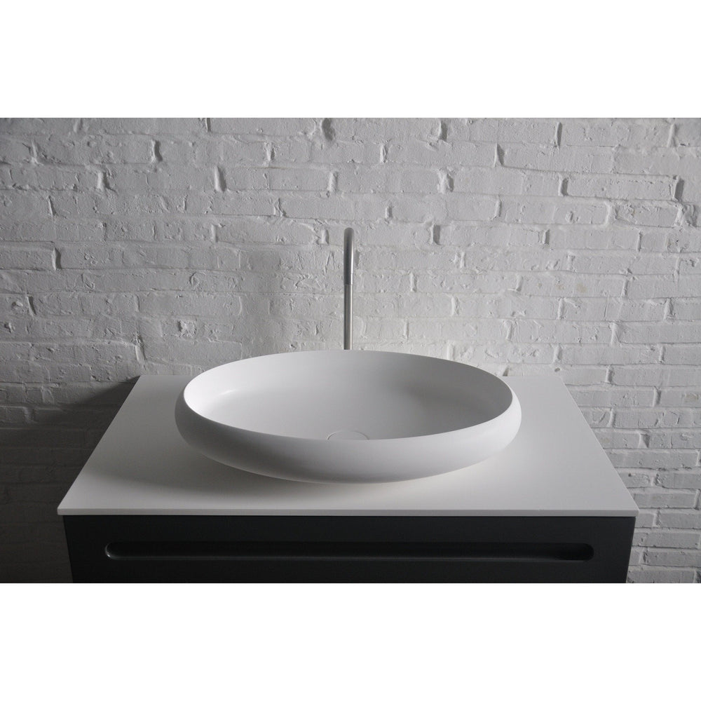Ideavit Ego Oval Solid Surface Vessel Sink Bowl Above Counter Sink Lavatory for Vanity Cabinet - AGM Home Store LLC