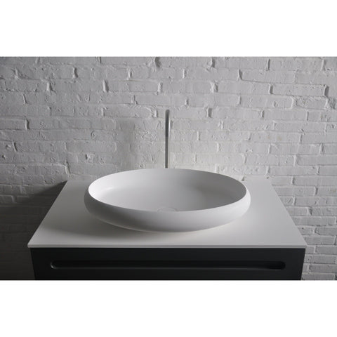 Solidego Elongated 24 in. Vessel Sink Bowl Above Counter Sink Lavatory for Vanity Cabinet - AGM Home Store LLC