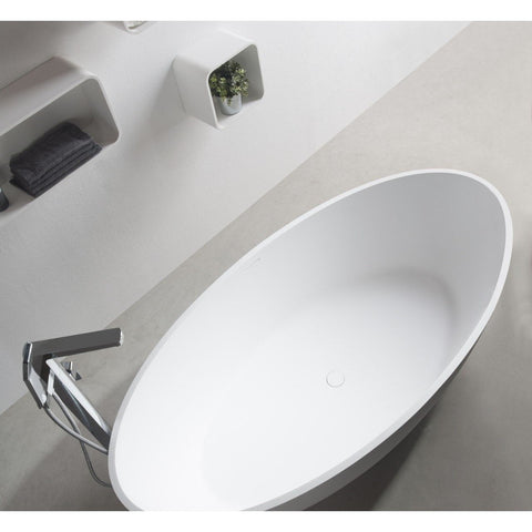 Ideavit Solidellipse Freestanding Bathtub in White Matte Solid Surface PS IDV 290032