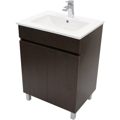 "Eco 24"" Standing Bathroom Vanity Cabinet Set Bath Furniture With Single Sink White/ Wenge - AGM Home Store LLC"