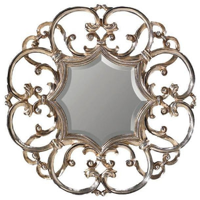 GM Luxury Edit Round Decorative Wall Art Hand Carved Mirror Antique Silver Leaf 35.4x35.4 - AGM Home Store LLC