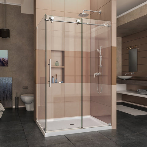 Enigma-X 34 1/2 in. D x 48 3/8 in. W x 76 in. H Fully Frameless Sliding Shower Enclosure - AGM Home Store LLC