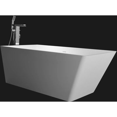 Ideavit Solidfeng Rectangular Freestanding Bathtub in White Matte Solid Surface - AGM Home Store LLC