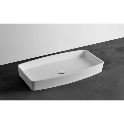 Ideavit Form Rectangular Solid Surface Vessel Sink Bowl Above Counter Sink Lavatory for Vanity Cabinet - AGM Home Store LLC