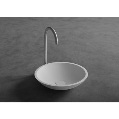Ideavit Fox Round Solid Surface Vessel Sink Bowl Above Counter Sink Lavatory for Vanity Cabinet - AGM Home Store LLC