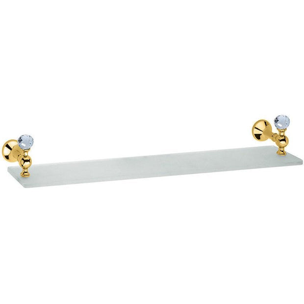 BA Folie Swarovski Wall Mounted Glass Storage Shelf Organizer Towel Rack - Brass - AGM Home Store LLC