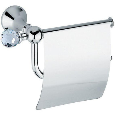 BA Folie Swarovski Wall Toilet Paper Holder Tissue Dispenser With Lid - Brass - AGM Home Store LLC
