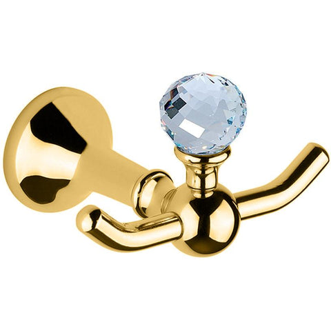 BA Folie Swarovski Double Towel Hook Hanger for Bath Towel Holder - Brass - AGM Home Store LLC