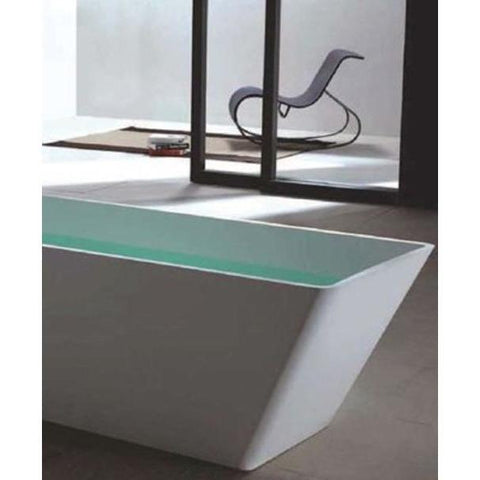 Ideavit Solidfeng Rectangular Freestanding Bathtub in White Matte Solid Surface