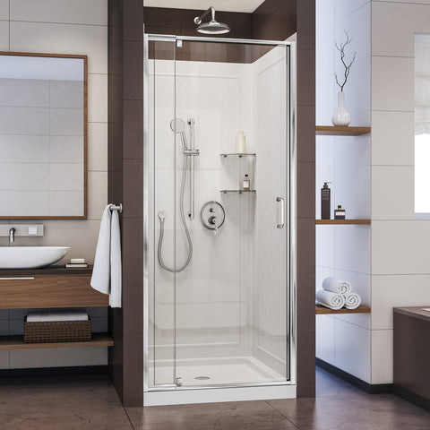 Flex 32 in. D x 32 in. W x 76 3/4 in. H Semi-Frameless Shower Door in Chrome with White Base and Backwalls - AGM Home Store LLC