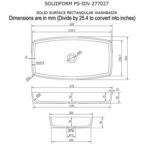 Solidform 27 in. Rectangular Surface Vessel Sink Bowl Above Counter Sink Lavatory for Vanity Cabinet - AGM Home Store LLC