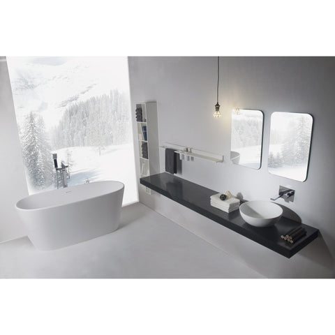 Solidglam 62 x 28 in. Elongated Freestanding Bathtub in White Matte Solid Surface - AGM Home Store LLC