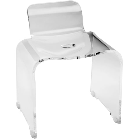 CP Shower Bench Stool Chair Bathroom Shower Seat With Back Support, Acrylic - AGM Home Store LLC
