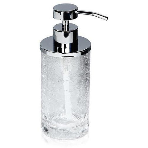 MV Crackled Glass Stainless Steel Standing Pump Liquid Soap Lotion Dispenser - AGM Home Store LLC