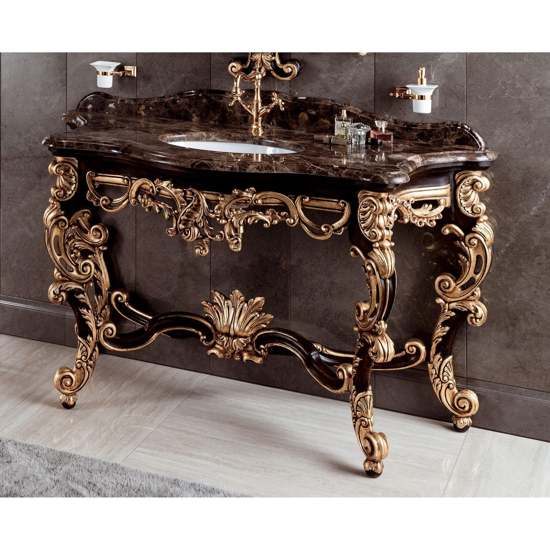 Gm Luxury Gondola 61 4 Bathroom Vanity Console Cabinet Decorated Wood Gold Leaf Gm Luxury Bath Collection Bathroom Vanities And Sink Consoles 60 To 64 Inches Above 15000 00 Ceramic Floor Standing Gm Luxury